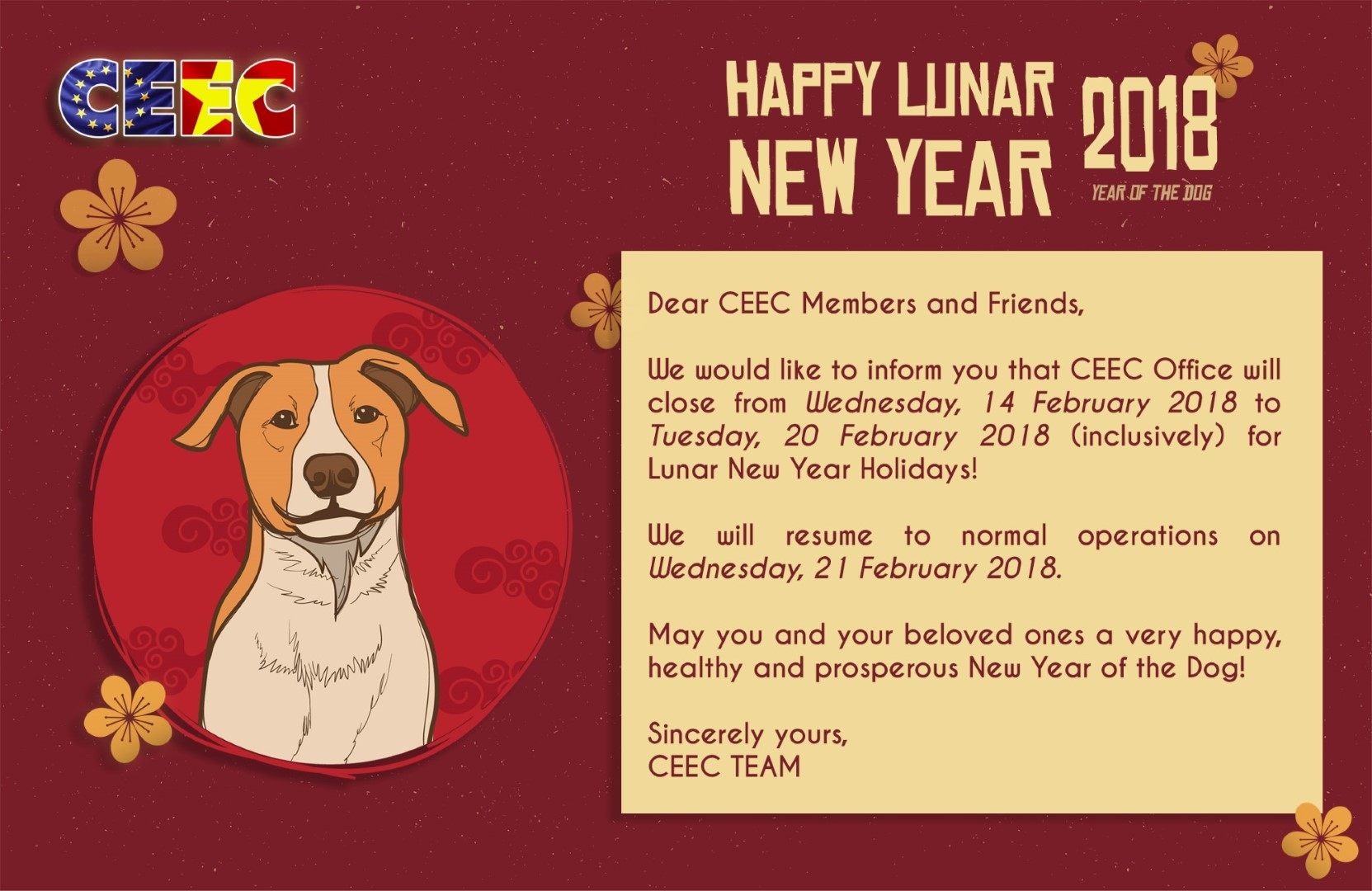 Wishing You A Healthy Happy And Prosperous Year Of The Dog Ceec